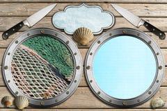 Zeevruchten - Menumalplaatje Stock Afbeeldingen