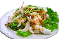 Zeevruchten met salade Stock Afbeelding