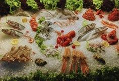 Zeevruchten op ijs bij de vissenmarkt royalty-vrije stock afbeeldingen