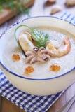 Zeevruchten romige soep Royalty-vrije Stock Fotografie