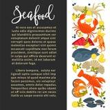 Zeevruchten vectoraffiche van de verse vangst van het vissen overzeese voedsel voor restaurant het koken recept royalty-vrije illustratie