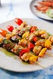 Zeevruchtenbarbecue met kruidige saus, zeevruchten Stock Foto's