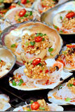 Zeevruchtenkammossel in toost Royalty-vrije Stock Afbeeldingen