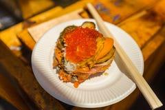 Zeevruchtenmengeling, kammossel, oester, krabvlok, en krabhersenen Stock Foto