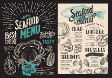 Zeevruchtenmenu voor restaurant Vectorvoedselvlieger voor bar en koffie royalty-vrije illustratie