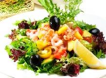 Zeevruchtensalade, garnalen Stock Foto's
