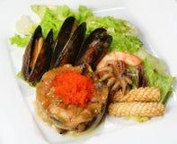 Zeevruchtensalade met de kammossel van de oestersaus, tijgergarnalen, minioctopus, overzeese cocktail, pijlinktvis, blauwe mossel Stock Fotografie