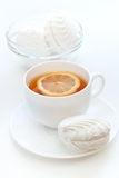 Zefier en thee met een citroen Stock Fotografie