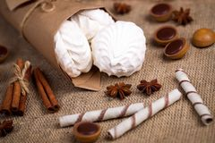 Zefir, sweet wafers rolls and caramel candies on a burlap Royalty Free Stock Photo