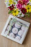 Zefiro bianco casalingo in scatola Fotografie Stock
