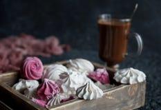 Zefiro casalingo del lampone e della vaniglia, caramelle gommosa e molle rosa e bianche deliziose Fotografie Stock Libere da Diritti