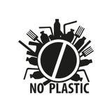 Zeg geen plastic zakken en flessen, verontreiniging van het einde de plastic afval Het pictogram van toestellen vector illustratie