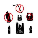 Zeg geen plastiek, verontreiniging van het einde de plastic afval Het pictogram van toestellen vector illustratie