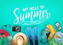 Zeg Hello aan het Hoogste Weergeven van de de Zomer Realistische Vectorbanner in Teal Color Background met en Tropische Elementen stock illustratie