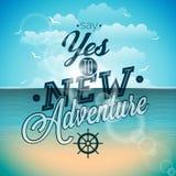 Zeg ja aan het nieuwe citaat van de avontureninspiratie op oceaanlandschapsachtergrond Royalty-vrije Stock Afbeeldingen