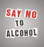 Zeg nr aan alcoholaffiche Royalty-vrije Stock Afbeeldingen