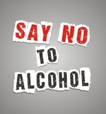 Zeg nr aan alcoholaffiche royalty-vrije illustratie