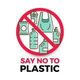 Zeg nr aan plastic banner met plastic pictogram in het rode vectorontwerp van de eindecirkel stock illustratie
