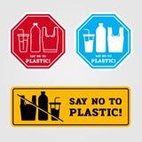 Zeg nr aan plastic die banner met de fles van het zakglas van plastic teken in banner 3 stijl tot vectorontwerp wordt gemaakt stock illustratie