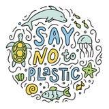 Zeg nr aan plastic krabbel vector illustratie