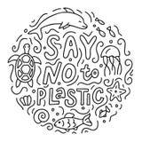 Zeg nr aan plastic krabbel stock illustratie