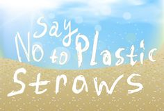 Zeg nr aan plastic stro ligt op het zand op een blauwe hemel met witte wolken vector illustratie
