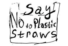 Zeg nr aan plastic stro Zwarte tekst, kalligrafie, van letters voorzien geïsoleerd op wit royalty-vrije illustratie