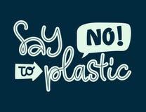 Zeg Nr aan Plastic teksten - Eco-de kleurenhand trekt het van letters voorzien uitdrukking stock illustratie