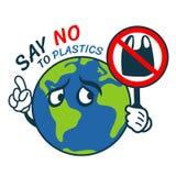 Zeg nr aan plastiek met van het de greepeinde van wereldcharator plastic de banner vectorontwerp vector illustratie
