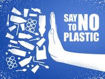 Zeg nr aan plastiek Probleem plastic verontreiniging Ecologische affiche Banner uit witte plastic afvalzak, fles en hand die word royalty-vrije illustratie
