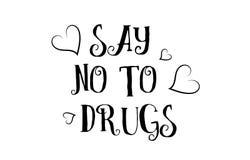 zeg nr aan van het het citaatembleem van de drugsliefde van de de groetkaart de afficheontwerp royalty-vrije illustratie