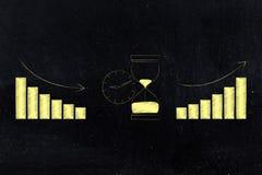 Zegar i hourglass z wykresami bierze czas długiego lub krótkiego Zdjęcia Royalty Free