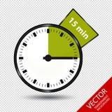 Zegar 15 minut Odizolowywających Na Przejrzystym tle - Wektorowa ilustracja - Zdjęcie Royalty Free
