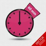 Zegar 60 minut Odizolowywających Na Przejrzystym tle - Wektorowa ilustracja - Obraz Stock