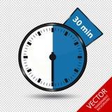 Zegar 30 minut Odizolowywających Na Przejrzystym tle - Wektorowa ilustracja - Obraz Royalty Free