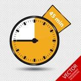Zegar 45 minut Odizolowywających Na Przejrzystym tle - Wektorowa ilustracja - Zdjęcia Royalty Free