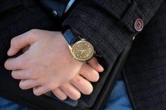 Zegar na ręce Obrazy Stock