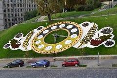 Zegar od kwiatów i zielonej trawy Fotografia Royalty Free
