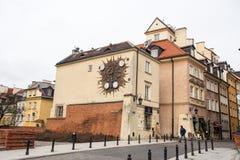 zegar podpisuje Warsaw ulicznego zodiaka Obraz Stock