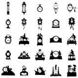 Zegar różni kształty sylwetka wektor Fotografia Stock
