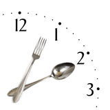 zegar widelec łyżce zrobił Fotografia Stock