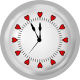 Zegar z sercami Fotografia Stock