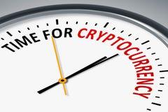 Zegar z teksta czasem dla cryptocurrency Zdjęcia Royalty Free