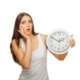 zegar zaskakujący wzburzeni kobiety potomstwa Zdjęcia Stock