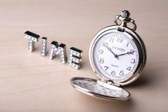 zegarek kieszonkowy tekstu czasu Obrazy Stock
