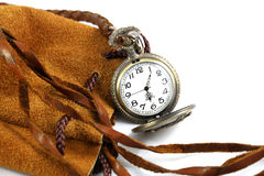 Zegarek na rzemiennej torbie Obrazy Stock