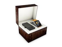 Zegarek W prezenta pudełku ilustracja 3 d Odosobniony biel Obrazy Royalty Free
