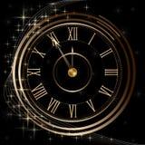 Zegarek z kurantami i gwiazdami złoto ilustracji