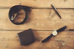 Zegarek z portflem i paskiem zdjęcia royalty free