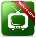 Zegarka online zieleni kwadrata guzik Obrazy Royalty Free